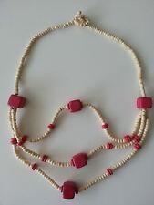 bisutería Joya Mujer Cadena de madera 3fach BURDEOS LARGO 64cm Collar Cadena #11