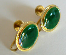 ANTIQUE NATURAL JADE JADEITE EARRING A GRADE UNTREATED VINTAGE 14K Yellow Gold