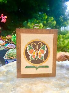 Vintage Butterfly Sand Art Wall Hanging Rainbow Way Alburquerque New Mexico