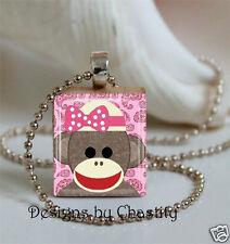 Sockmonkey Necklace Scrabble Pink Girlie Charm Pendant Sock Monkey with Chain