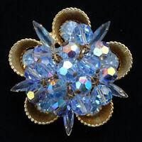 Vintage Juliana DeLizza & Elster Blue Bead Dangle Rhinestone Brooch Metal Cups