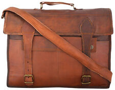 Vintage Bull Leather Tote Mens Briefcase 17'' Laptop Case Messenger Shoulder Bag