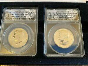 2014 P&D Kennedy Half Dollar 50th Anniversary ANACS SP69 2 Coin Set