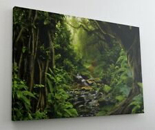Wald Bach Grün Weg Dschungel Leinwand Bild Wandbild Kunstdruck L1085