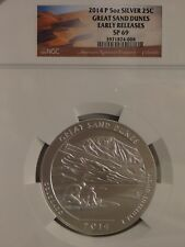 2014-P  A.T.B. 5 oz silver Great Sand Dunes, CO   N.G.C. SP 69 Early Releases