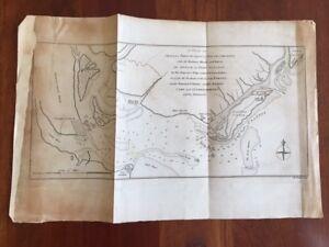 RARE 1780 MAP Charleston, South Carolina, Revolutionary War Fort Sullivan Attack