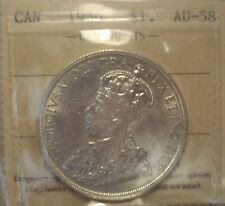 Canada George V 1936 Silver Dollar - ICCS AU-58