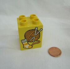 Rare Lego Duplo KNITTING DARNING SOCKS YARN PRINTED BLOCK Specialty Piece Part
