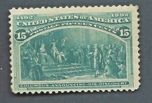 ORLEY STAMPS US Scott #238, 1893 Columbus Announcing his Discovery 15c VF MNH