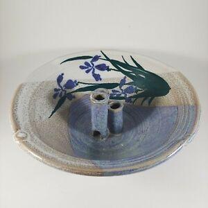 """HANDMADE Signed 8"""" Large Blue & Purple Floral Ikebana Flower Arranging Bowl Vase"""