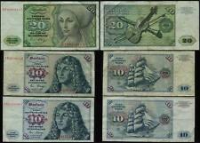 Mix Lot 15 - Germany 20 x2  & 10 Marks - 2 Banknotes 1980