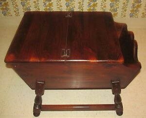 Ethan Allen Antiqued Old Tavern Pine Dough Box Magazine End Table 12 8026