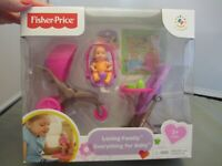 Fisher Price Dollhouse Baby Loving Family Everything for Baby Doll 2013 NEW