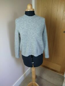 Cos Grey XS Mohair Wool Blend Jumper Bow Back