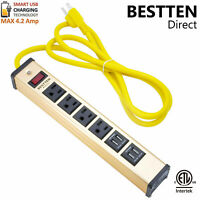 4 Outlet 4 USB Charging Port Heavy Duty Metal Power Strip w/ 6ft. Extension Cord