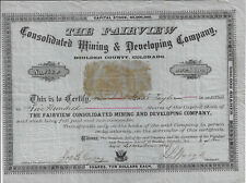 COLORADO 1880 Fairview Consolidated Mining & Development Co Stock Certificate