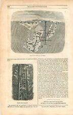 Coupe Mine de Cuivre de Falun en Suède Stora Kopparberget GRAVURE OLD PRINT 1849