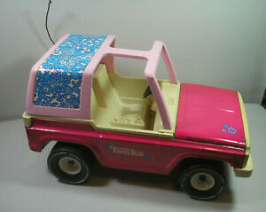 "Vintage 1970s Tonka Pink Daisy Bronco Jeep Pressed Steel 17.5"" Fits Barbie Dolls"