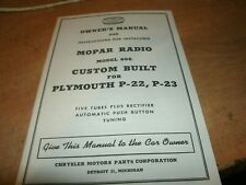 1952 PLYMOUTH MOPAR RADIO INSTALLATION AND OWNERS MANUAL FOR FACTORY RADIO NICE
