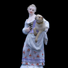 Meissen Perfume Scent Bottle Woman Pug Dog Antique Porcelain c1850 (3496)