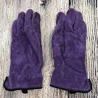 LL Bean Gloves Womens Size Medium Purple Suede Leather Vtg Fleece Lined
