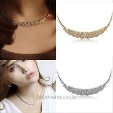Charm Jewelry Pendant Chain Crystal Choker Chunky Statement Bib Necklace Silver