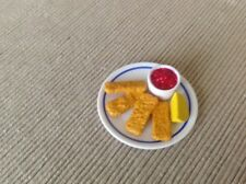 """18"""" doll food fish sticks dinner plate fits American Girl Our Generation toy"""