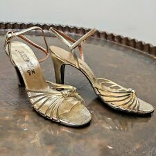 Vintage 1970s DAISY Metallic Gold Strappy Knot-Front High Heel Shoes (8N)