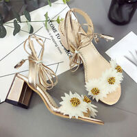 Women's Summer Open Toe Strap High Heel Sandals Flowers Thick Heel Roman Shoes