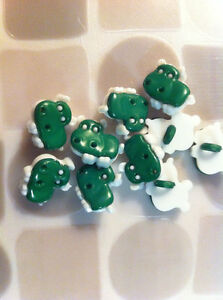 CUTE DARK GREEN HIPPOS PLASTIC BUTTONS/SEWING SUPPLIES/10 PIECES