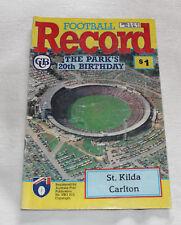 1990 AFL Football Record St Kilda Saints v Carlton Blues Vol.79 No.3