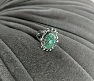 Vintage Old Pawn Sterling Silver Green Turquoise Ring Size 4.5