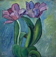 Jo Valeur Kyhn 1886-1959 Ölgemälde Impressionistin Tulpen Blumen Stillleben 1954