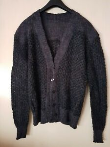 """Italian Vintage Fashion Mens Sweater Knitted Wool Blend Cardigan Top M Chest 40"""""""