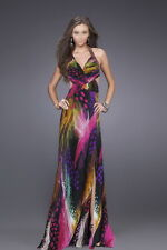 AMAZING COLORS! BLACK & FUCHSIA BEADED HALTER FORMAL/EVENING/PROM DRESS AU12US10