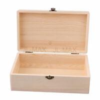Unpainted Pine Wood Storage Box 25x15x9cm Burlywood