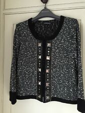 Betty Barclay Knitted Jacket -Studs on Faux Leather Trim - UK 10 BNWT (RRP £155)