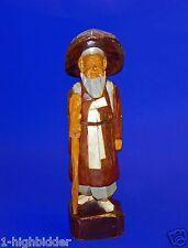 "Vintage 12"" Gau Woo Art Hand Painted Carved Wood Carving Chinese Man Figure"