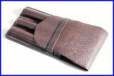 Rare 50's BROWN Saffian Leather pouch / etui / for 3 Fountain Pen / #4 Size