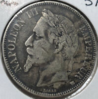 1868-BB France 5 Francs Silver Coin VF+ Condition