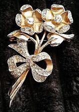 VINTAGE BROOCH PIN FLOWER STERLING SILVER ? GOLD VERMEIL RHINESTONES ANTIQUE
