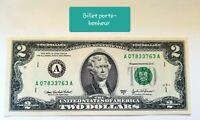 2 billets Porte-Bonheur américain de 2 dollars