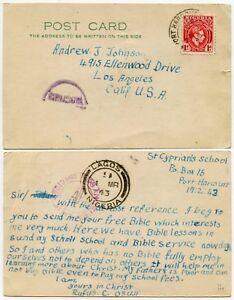 NIGERIA 1d POSTCARD WW2 CENSORED PRINTED RATE 1943 PORT HARCOURT to USA