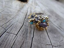 Empowering Crystals Rough Ruby Flower Twig Ring Size 7.5 Boho Sea Theme Indie
