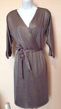 NEW Tahari Silver Metallic Tie Front Wrap Dress 3/4 Sleeve Stretch Size 8P