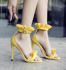 Ladies Chic Yellow Suede Stiletto Heels Sandals Clubwear Dating Buckle Shoes new