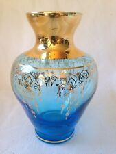 "Flared Blue Bulb Vase with Gold Pattern 5"" high EXQUISITE!"