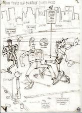 Originalzeichnung Gerhard Seyfried Hanf happy people in a drugfree world Drogen