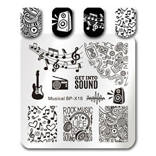 BORN PRETTY Nail Art Stamp Plate Geometry Musical Note Image Template BP-X18