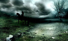 Framed Print - Dark Gothic Rider on Horseback (Picture Poster Horse Animal Art)